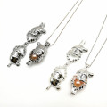 Alloy Christmas Santa Claus Locket Steel Necklace
