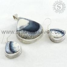 Шикарный дендрит агат драгоценных камней серебряный комплект ювелирных изделий 925 серебряные ювелирные изделия оптовая торговля ювелирных изделий