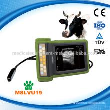 2016 Última marca MSLVU19i palma handheld veterinario ultrasonido escáner con buenas imágenes aptas para la granja