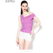 Nueva blusa europea oblicua de la gasa de la gasa atractiva era delgada chaleco apretado del hombro Mujeres blusa de seda del verano sin tirantes
