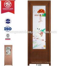 Portes en verre givré en PVC imperméable personnalisées de qualité pour toilette ou salle de bain ou cuisine