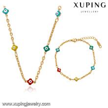 63918 Xuping nuevo diseño joyería chapado en oro mujer pulsera y collar conjuntos