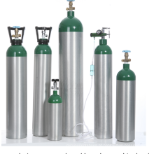 Cilindro de gás oxigênio médico portátil de alumínio