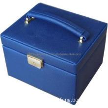 Leather Zipper Pouch Jewellery Box Jewelry Showcase with Mirror