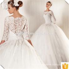 Nach Maß reizend langes Hülsen-formales Strand-Hochzeits-Kleid-Spitze-Applique-Robe De Mariage on-line-Einkaufen China