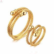 Woman Yellow Gold Plated 304 Stainless Steel Wire Rope Couple Rings