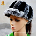 Fashionable Genuine Rex Rabbit Fur Hat Pure Black and Grey Color with Brim