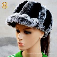 Chapeau de fourrure de lapin authentique Rex à la mode Noir et gris avec bordure
