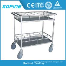 SF-HW5712 нержавеющая сталь больничная тележка