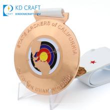Personalized custom metal 3d sports shooting championship enamel arrow target logo arabic archery medal with lanyard