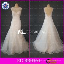 ED Bridal Real Sample Appliqued Cap Sleeve Backless Organza Alibaba Vestido de Noiva 2017