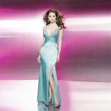 Sexy Trumpet Mermaid Deep-V Spaghetti Straps Lantai-panjang Elastic-satin Open-back Beading Evening Dress