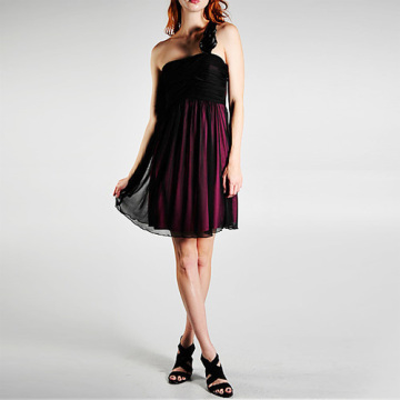 Chic-Mantel Spalte One-Shoulder Chiffon Short Homecoming Kleid