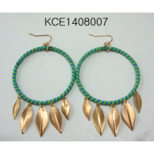 Woven with Leaf Pendant Earrings