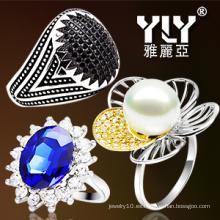 Perla de la manera / anillo de la CZ 925 plata