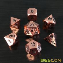 Bescon Heavy Duty Rose Copper Solid Metal Dice Set, Shiny Rose Metallic Polyhedral D&D RPG Game Dice 7pcs Set