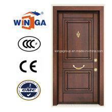 Porte blindée en placage en bois MDF en acier inoxydable en acier inoxydable (W-T05)