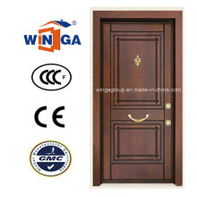 South Africa Security Steel MDF Wood Veneer Armored Door (W-T05)