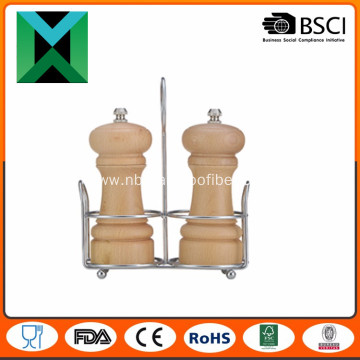 Wood pepper mill with metal stand