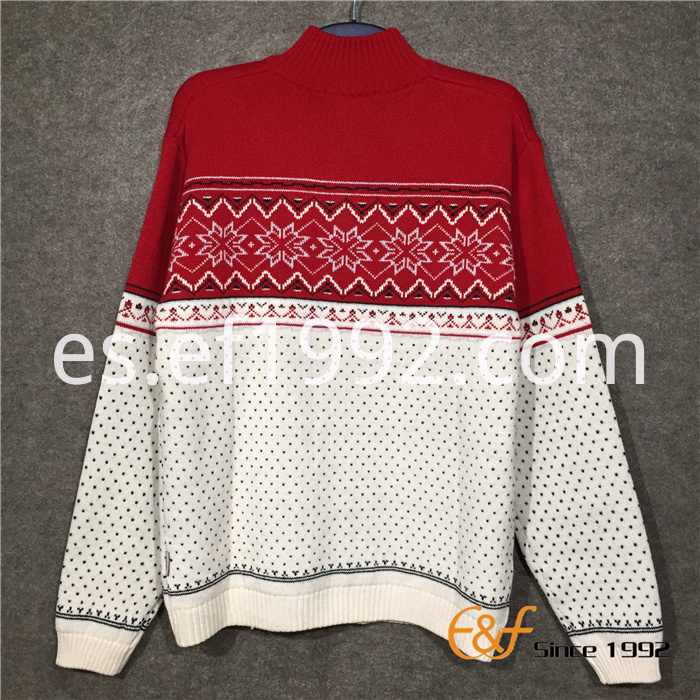 Zipper Half Turtleneck Sweater with Snowflake Pattern
