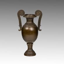 Vaso estátua dupla alças escultura de bronze Tpm-088