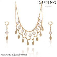 63733-Xuping Mesh Design Diamond Necklace Tassel Flake Jewelry Set
