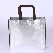 Reutilizable no tejido laminado metálico promocional de la bolsa de asas de las compras del bolso para el supermercado