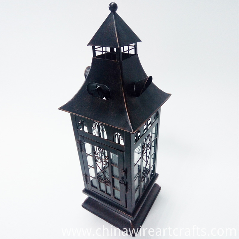 Metal Decorative Lanterns Glass Hurricane
