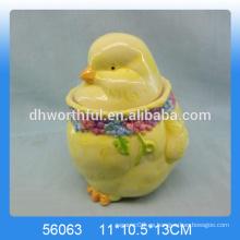 Jarra de almacenamiento de cerámica de diseño de gallo de Pascua
