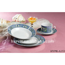 Round Porcelain Dinner Sets/High Quality Rim Design Elegant Ceramic Dinnerware With Various Colorful Decals