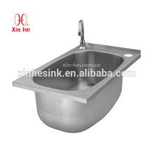 Dissipador de aço inoxidável da lavagem da mão do NSF com furos de torneira, dissipador de aço inoxidável da lavagem da mão para a cozinha comercial