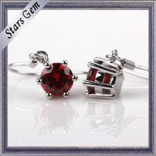 Высокое Качество Темно-Красный Гранат Цирконий Серебро Ювелирные Изделия Серьги