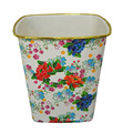 Quadrilateral Plastic Flower Printed Open Top Dustbin (B06-3050)