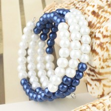 Blue and White Triple Strand Pearl Bracelet Cuff