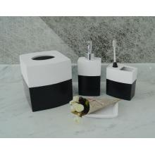 Souveniers regalos divertido blanco y negro 4pcs baño artesanal conjunto de accesorios de resina