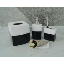 Souveniers gifts funny white & black 4pcs bathroom hand crafted resin accessory set
