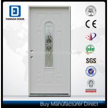 Hot sale central arch light moldura de madeira espuma de poliuretano injetado inswing aço porta exterior com vidro
