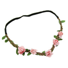 Lady′s Floral Elastic Headband with 5PCS Pink Flowers (HEAD-317)