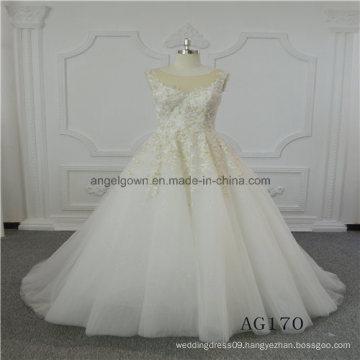 Sleeveless A Line Lace Bridal Princess Wedding Dress