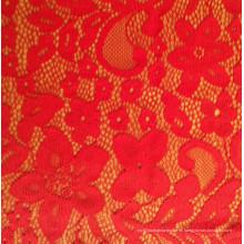 Tejido brillante del vestido del cordón del color rojo para la boda