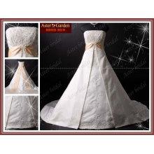 Satén popular de la manera que rebordea el vestido de boda