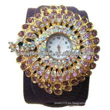 Las mujeres elegantes brillo rhinestone bling bling más baratos relojes de pulsera