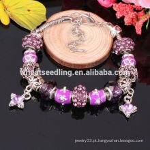 Moda Estilo Europeu Charm Beaded Bracelet, Multicolor Murano Glass Bracelet Atacado