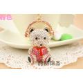 Korea rhinestone headset small Roger bear pendant Keychain fashion crystal bear metal key ring bag hanger for woman
