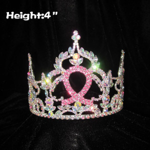 4inch Pink Ribbon Crystal Pageant Crowns
