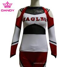 Costume todos os uniformes Cheerleading da luva longa metálica das estrelas
