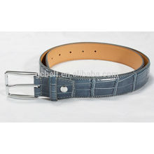 Man's 3.0cm blue col imitation crocodile PU belt
