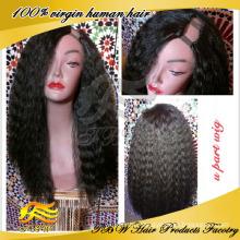 Pelo humano peruano pelucas baratas de la parte u, peluca rizada recta de la parte u