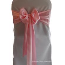 2015 al por mayor baratos elegantes de color rosa satén Sashes silla