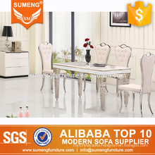 contemporary modern design stainless steel frame marble top dining table set